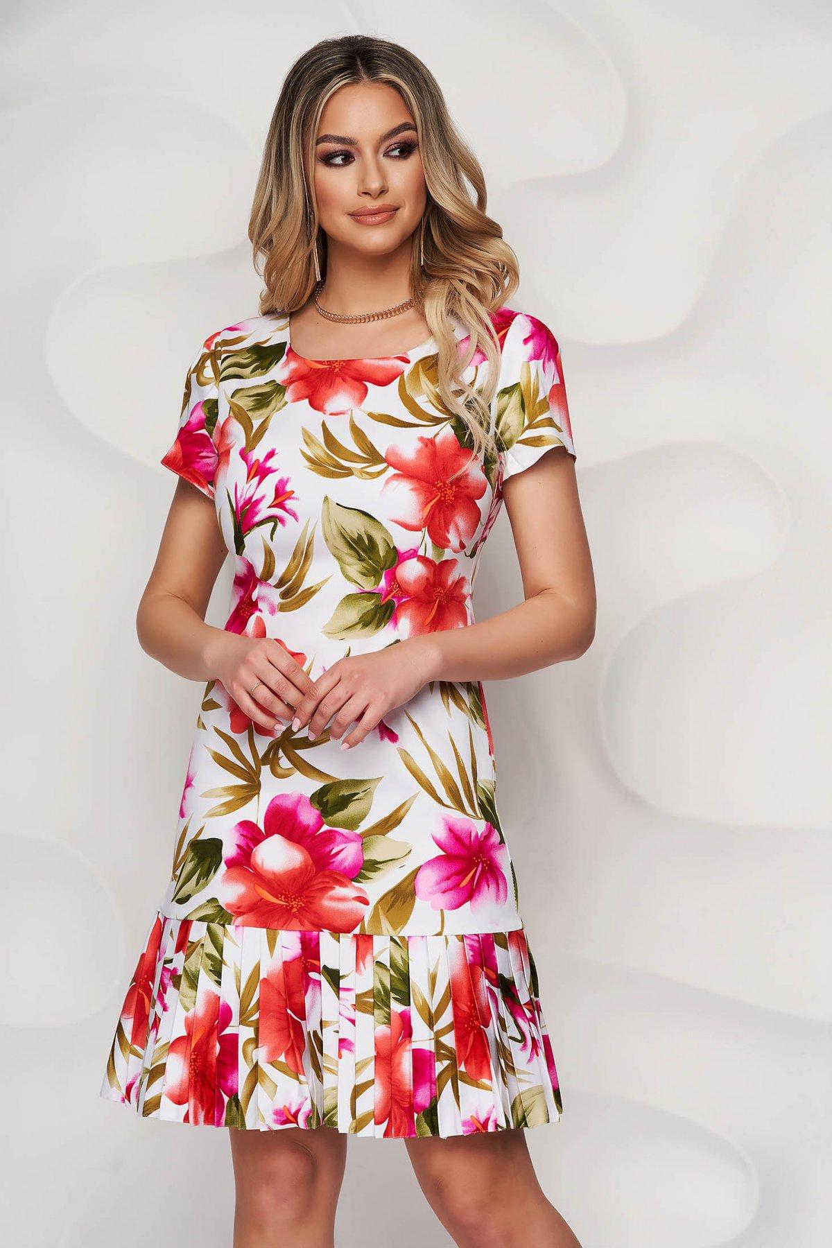 Rochie alba midi cu imprimeu floral cu decolteu rotunjit si pliuri de material