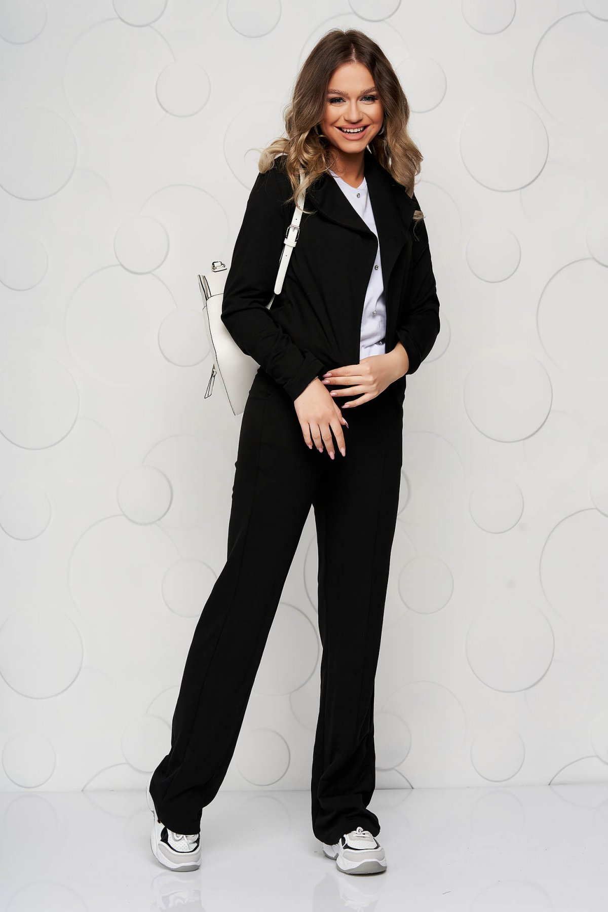 Pantaloni StarShinerS negri casual cu croi larg si buzunare