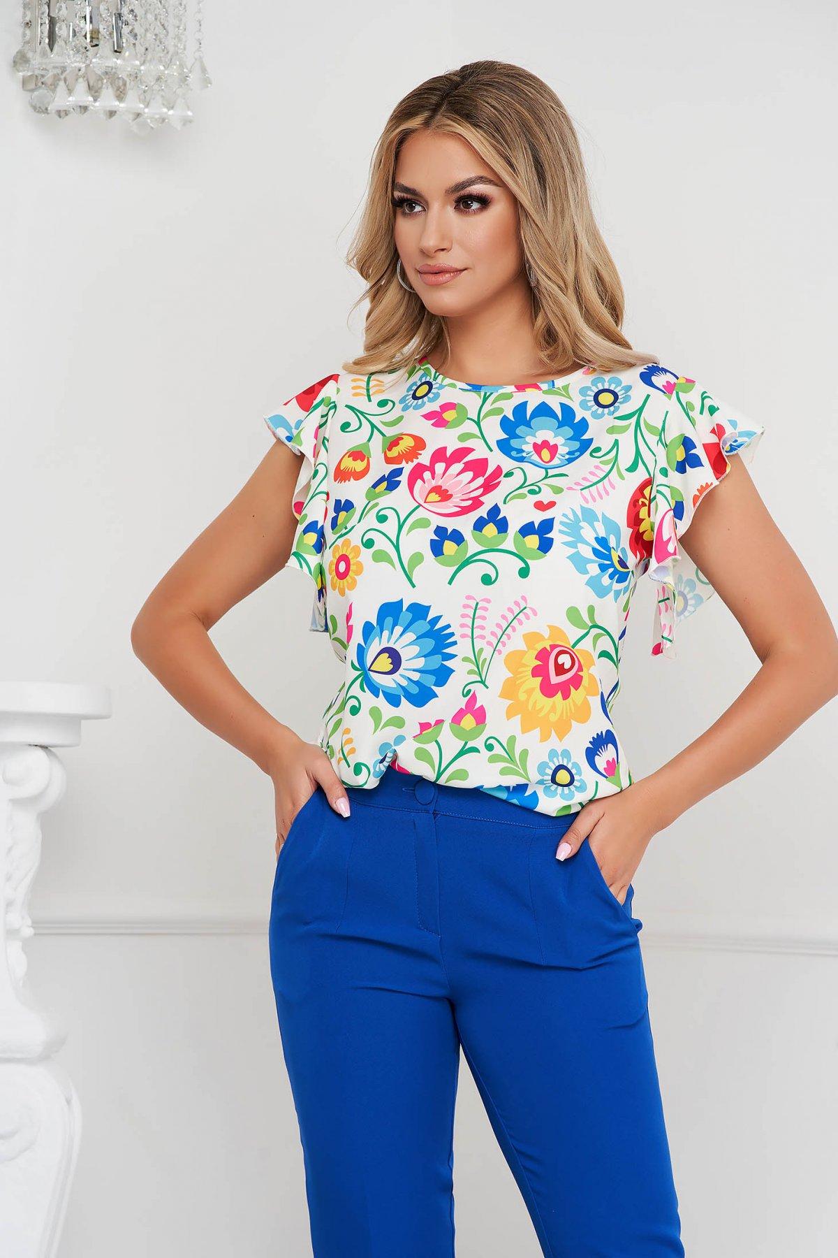 Bluza StarShinerS din material elastic si fin midi tip creion cu imprimeuri florale unice