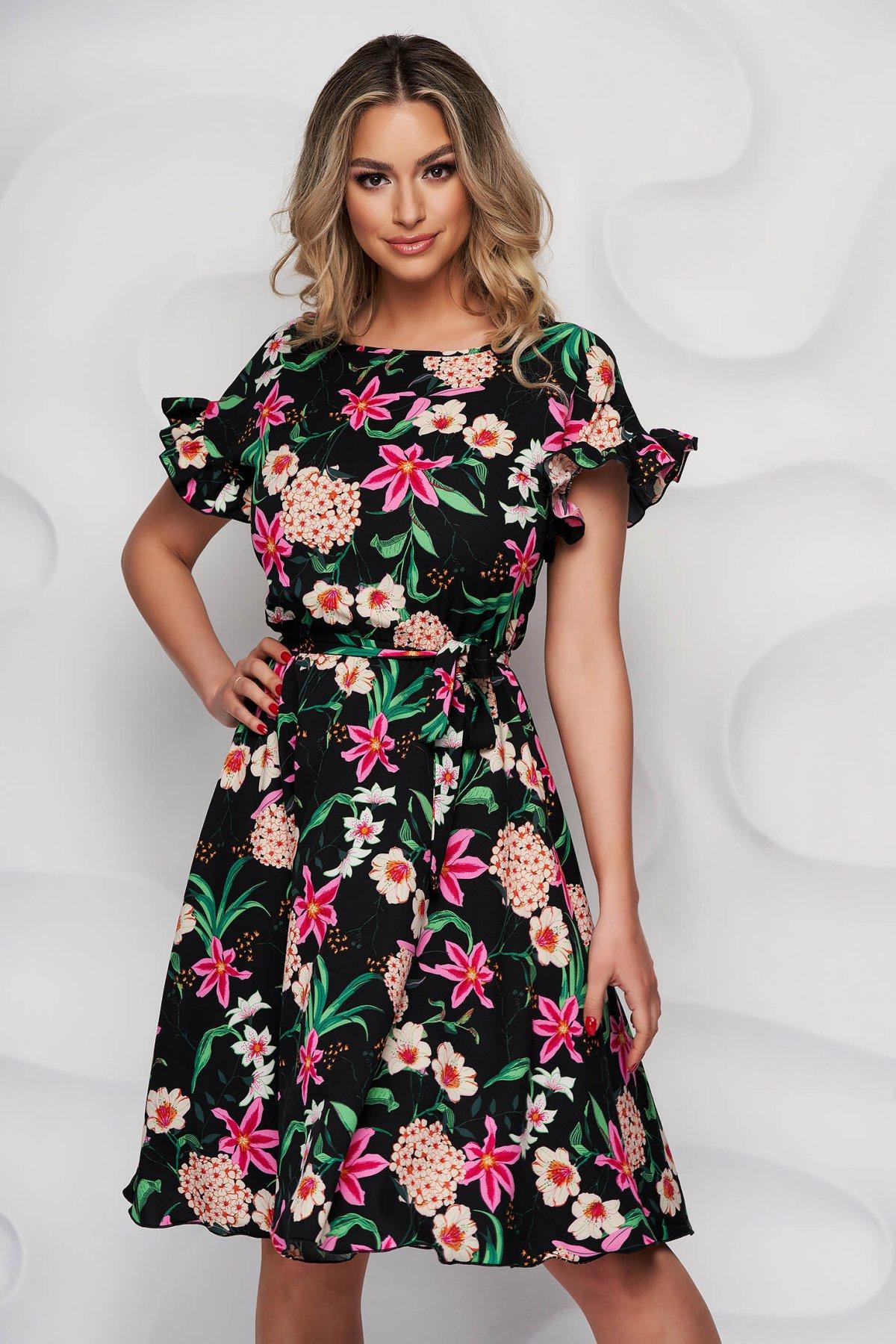 Rochie StarShinerS eleganta cu imprimeu floral midi in clos cu elastic in talie din material vaporos - medelin.ro