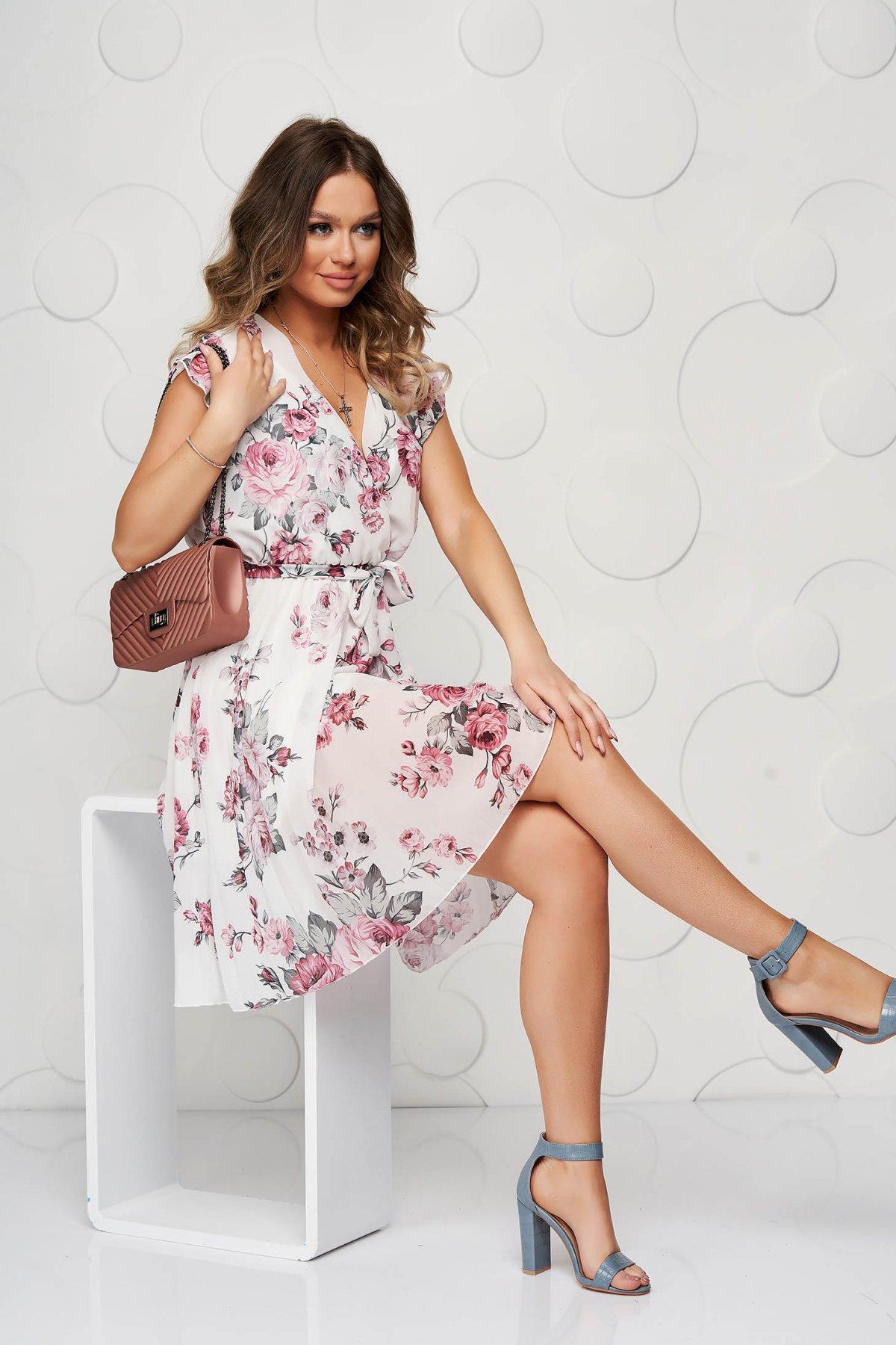 Rochie SunShine cu imprimeu floral in clos plisata cu decolteu in v