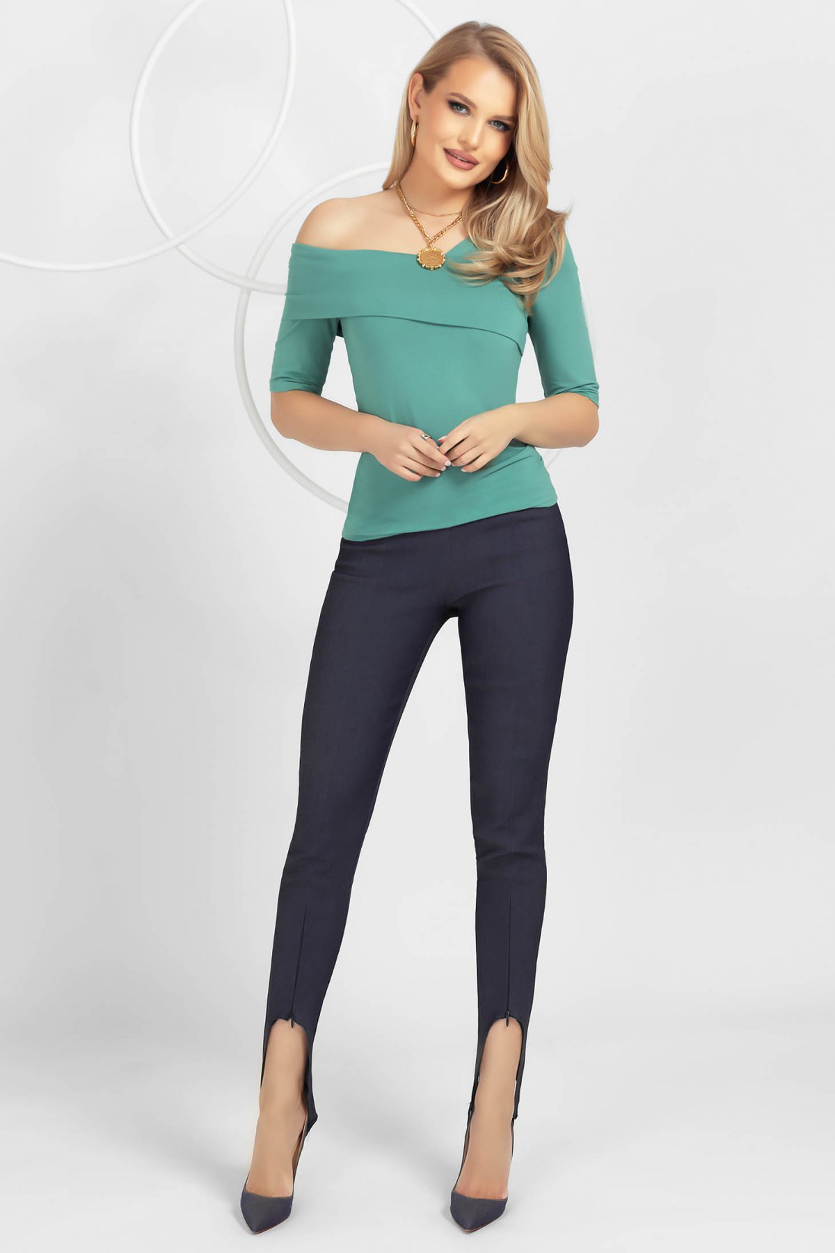 Pantaloni PrettyGirl albastru-inchis tip jeans conici cu talie medie