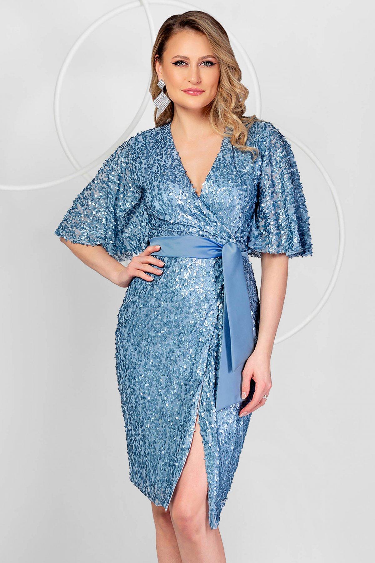 Rochie PrettyGirl albastra de ocazie din paiete cu croi in a si maneci tip fluture - medelin.ro