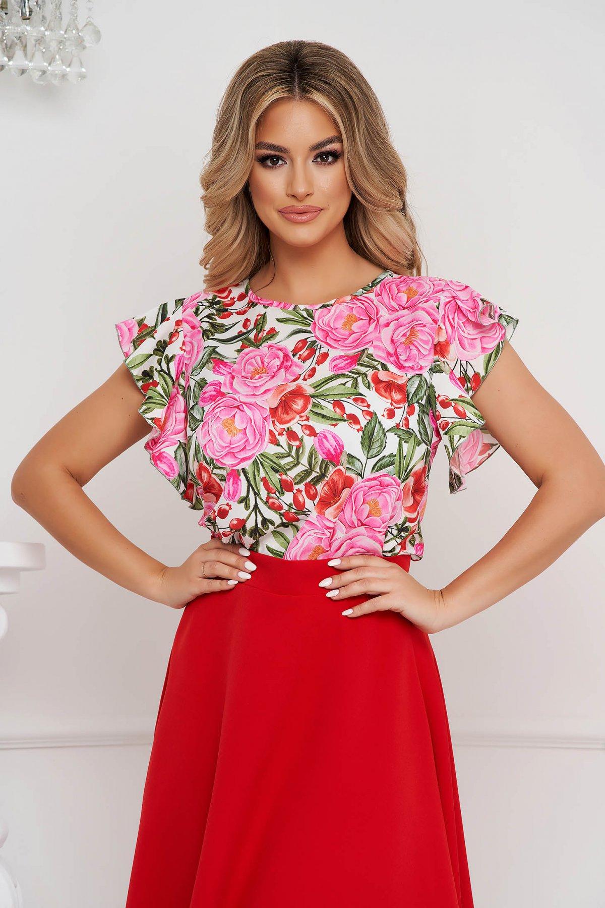 Bluza dama StarShinerS office cu croi larg cu volanase si imprimeu floral unic