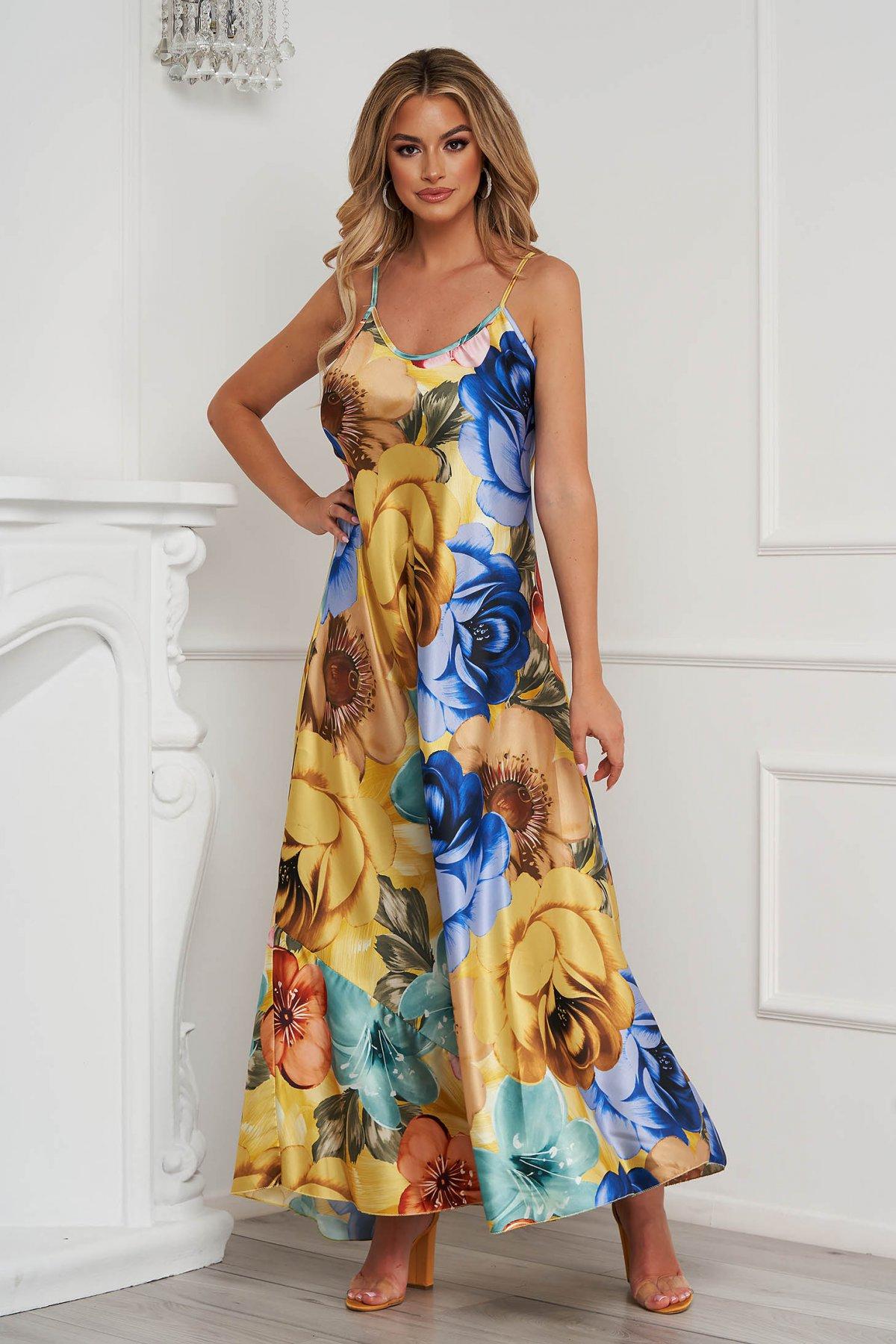Rochie galbena cu imprimeu floral din material subtire cu croi larg lunga cu bretele - medelin.ro