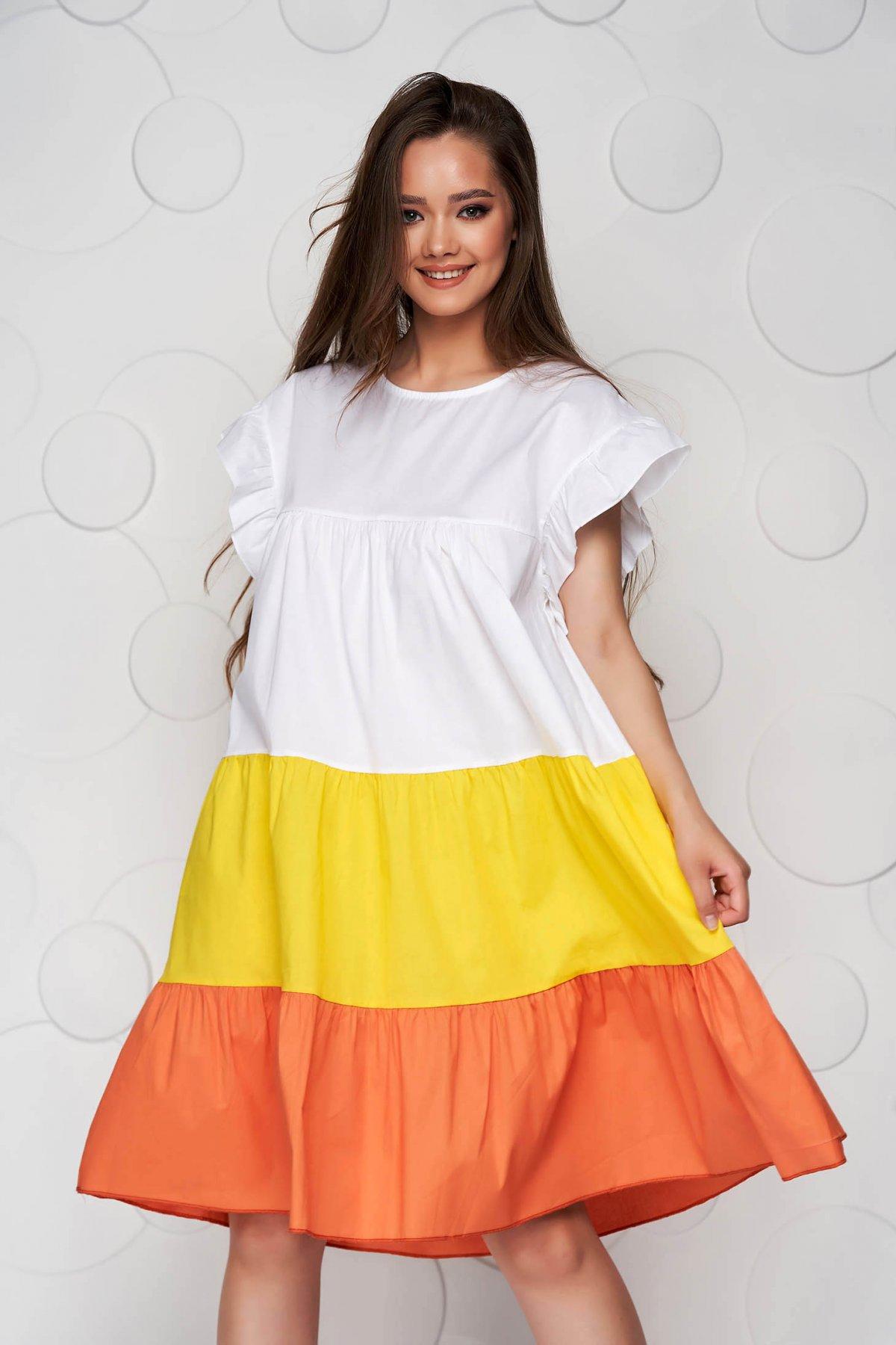 Rochie alba cu galben din material vaporos si subtire cu croi larg midi cu volanase - medelin.ro