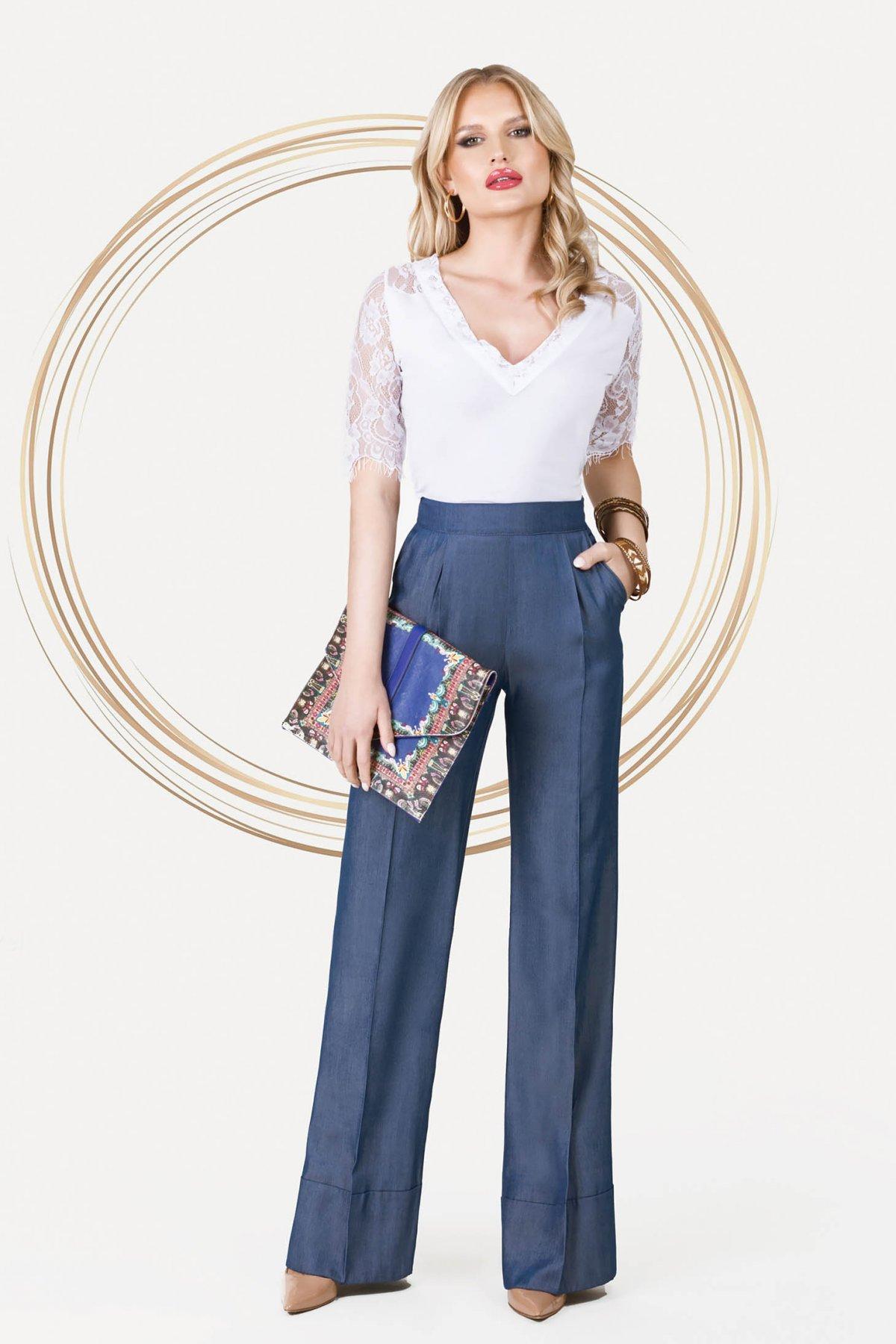 Pantaloni PrettyGirl albastri office cu talie inalta cu croi drept si tesatura cu efect de jeans