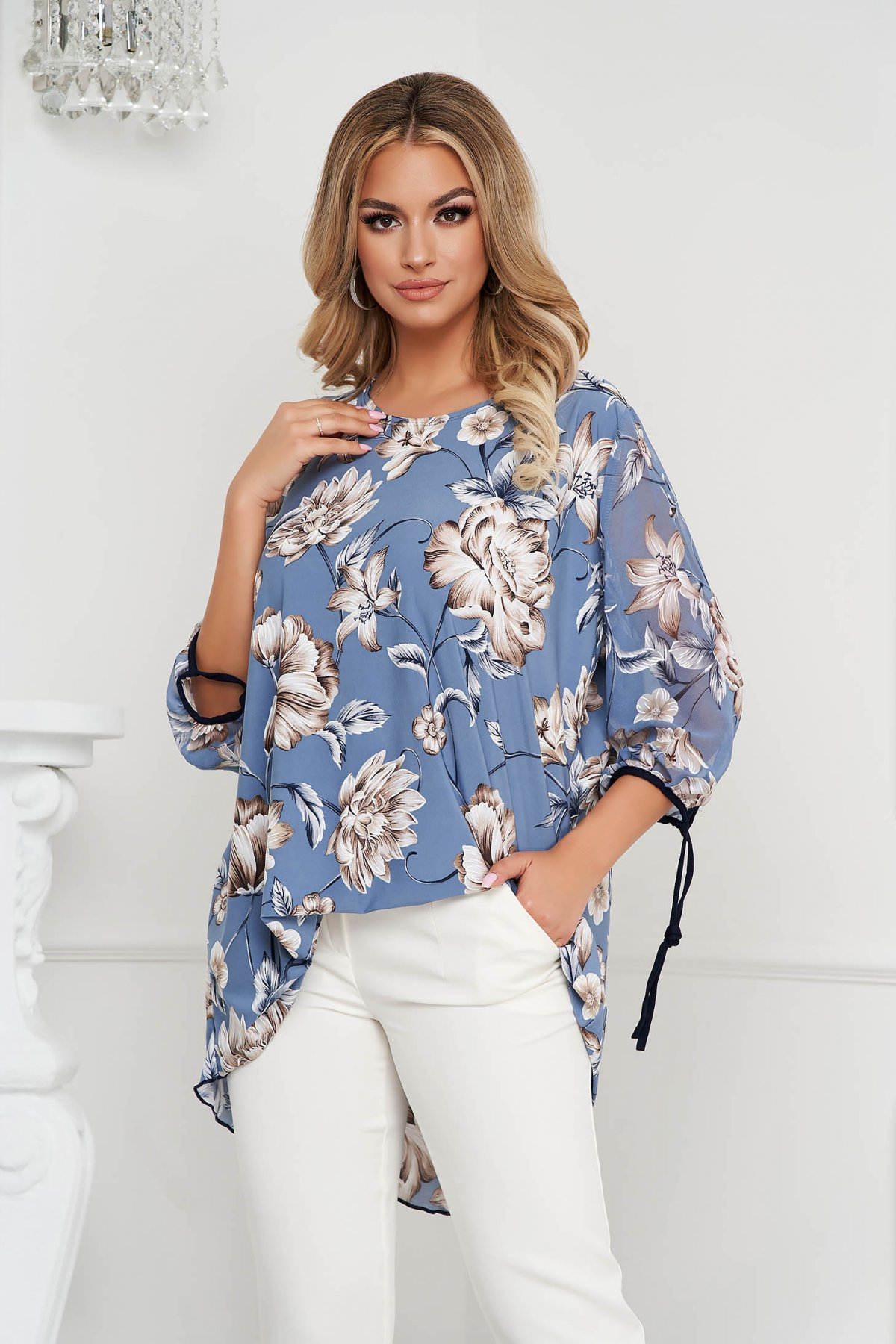 Bluza dama Lady Pandora eleganta cu croi larg din material vaporos cu detalii cauciucate