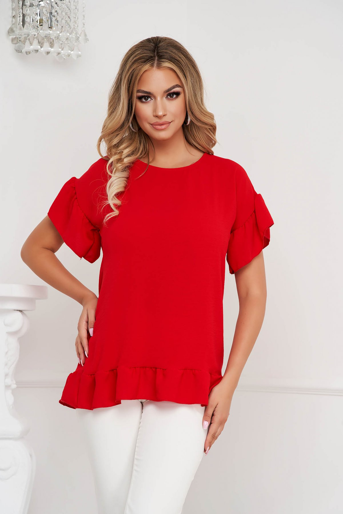 Bluza dama Lady Pandora rosie cu croi larg din material vaporos cu volanase