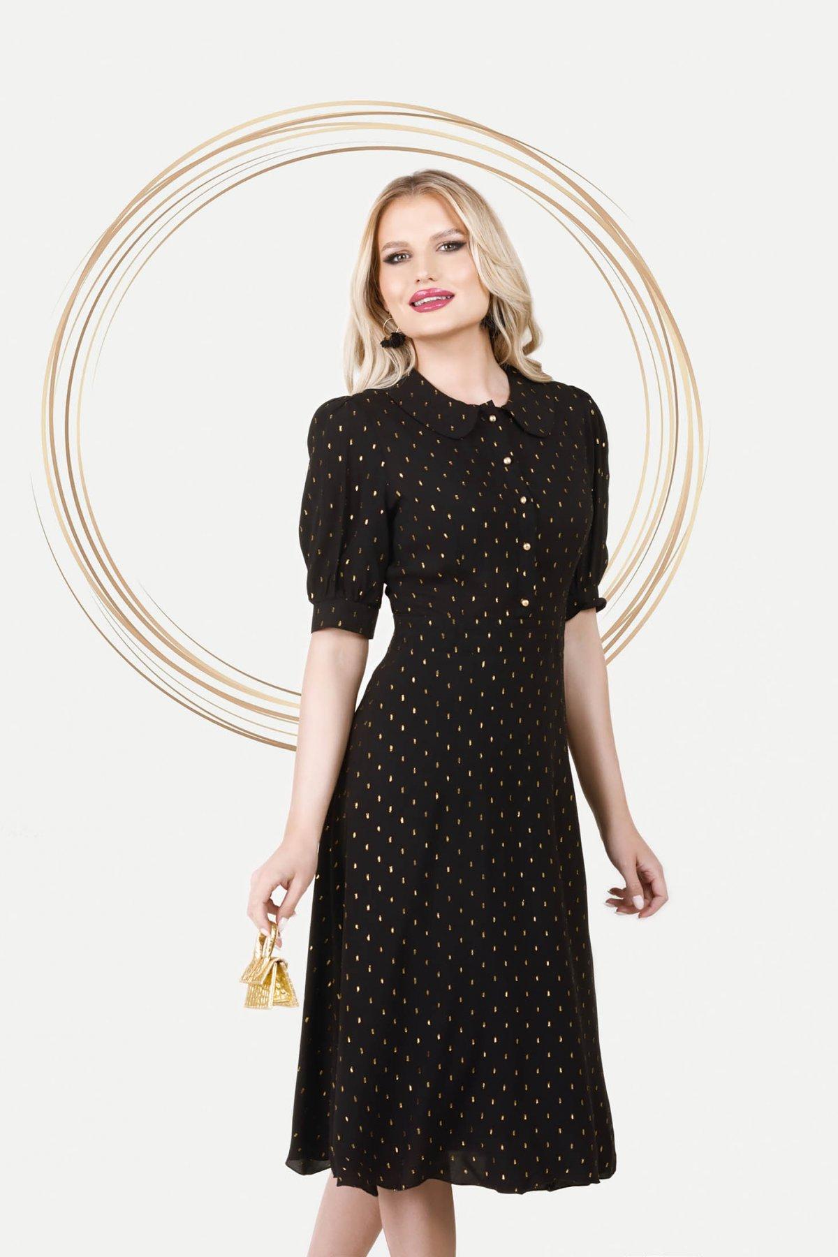 Rochie PrettyGirl neagra eleganta midi in clos din material vaporos cu maneci bufante - medelin.ro