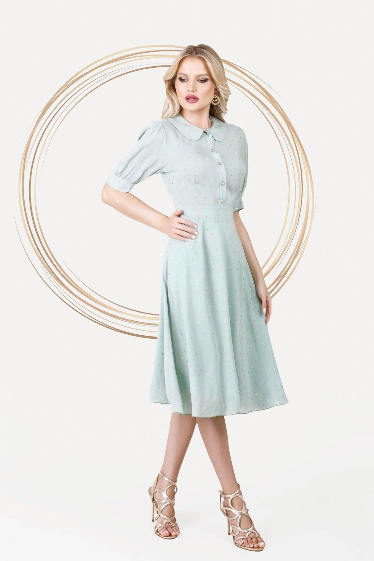 Rochie PrettyGirl mint eleganta midi in clos din material vaporos cu maneci bufante - medelin.ro
