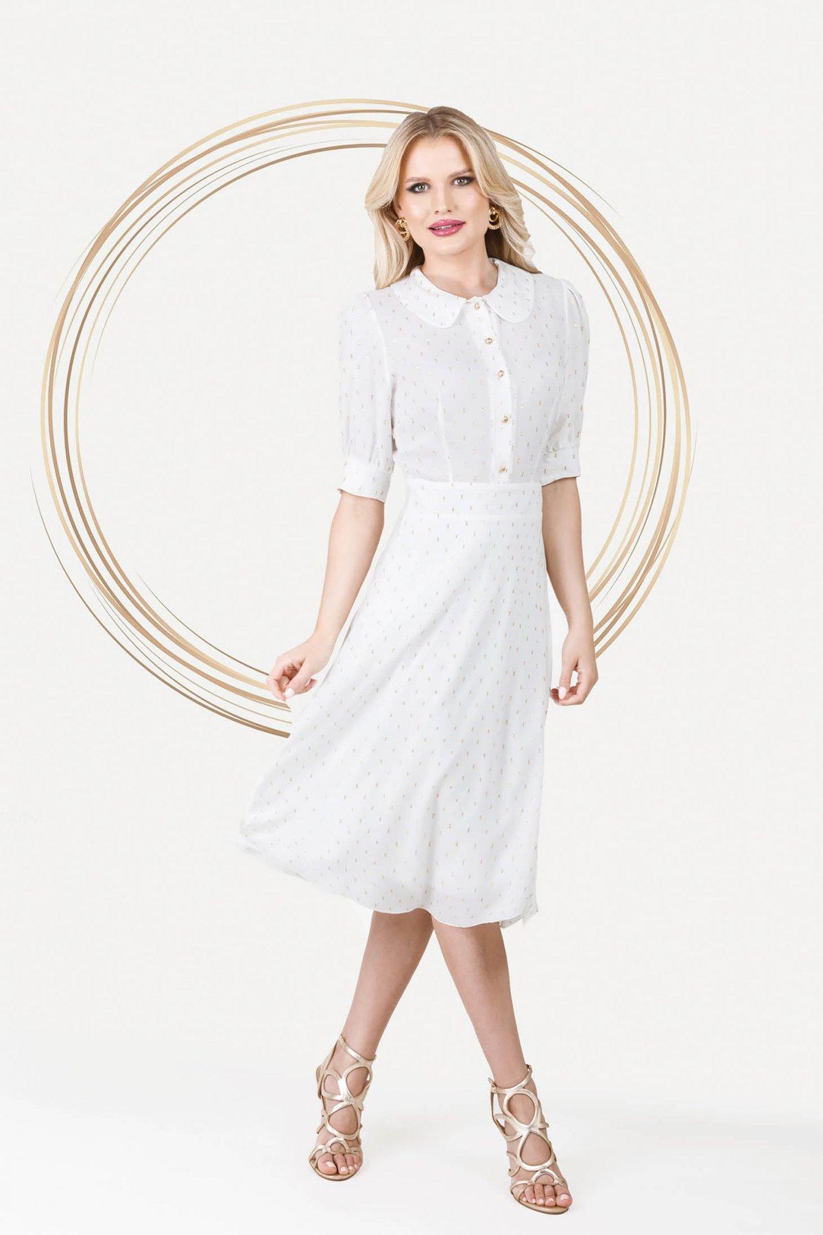 Rochie PrettyGirl alba eleganta midi in clos din material vaporos cu maneci bufante - medelin.ro