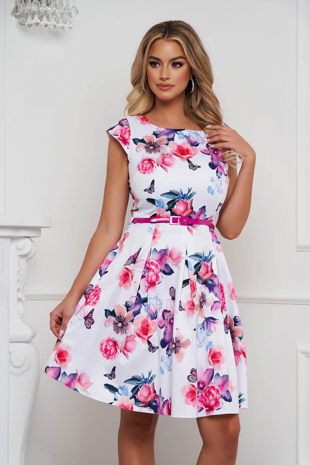 Rochie eleganta midi in clos din material usor elastic cu imprimeu floral - medelin.ro