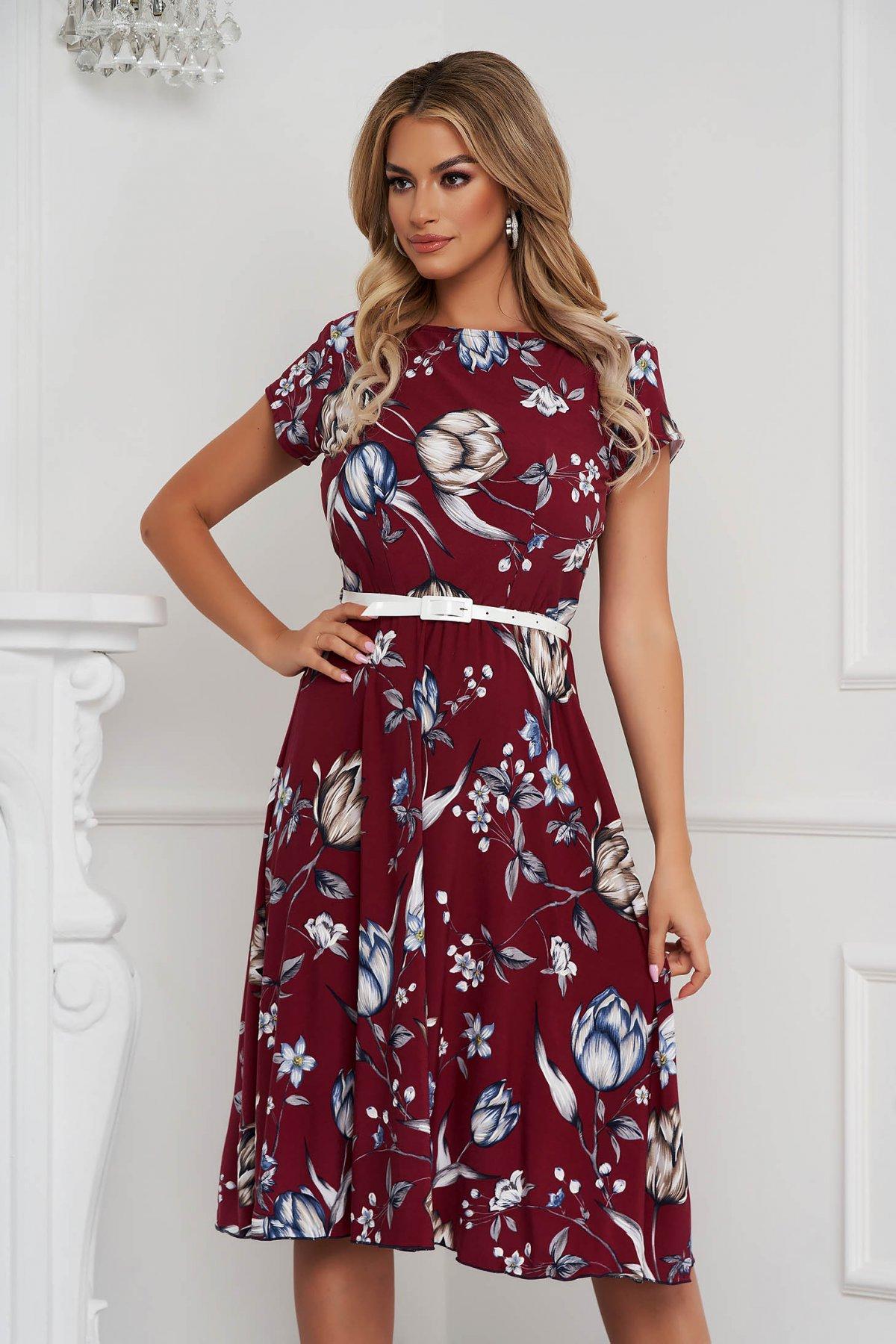 Rochie eleganta midi in clos cu elastic in talie din material elastic cu maneci scurte - medelin.ro