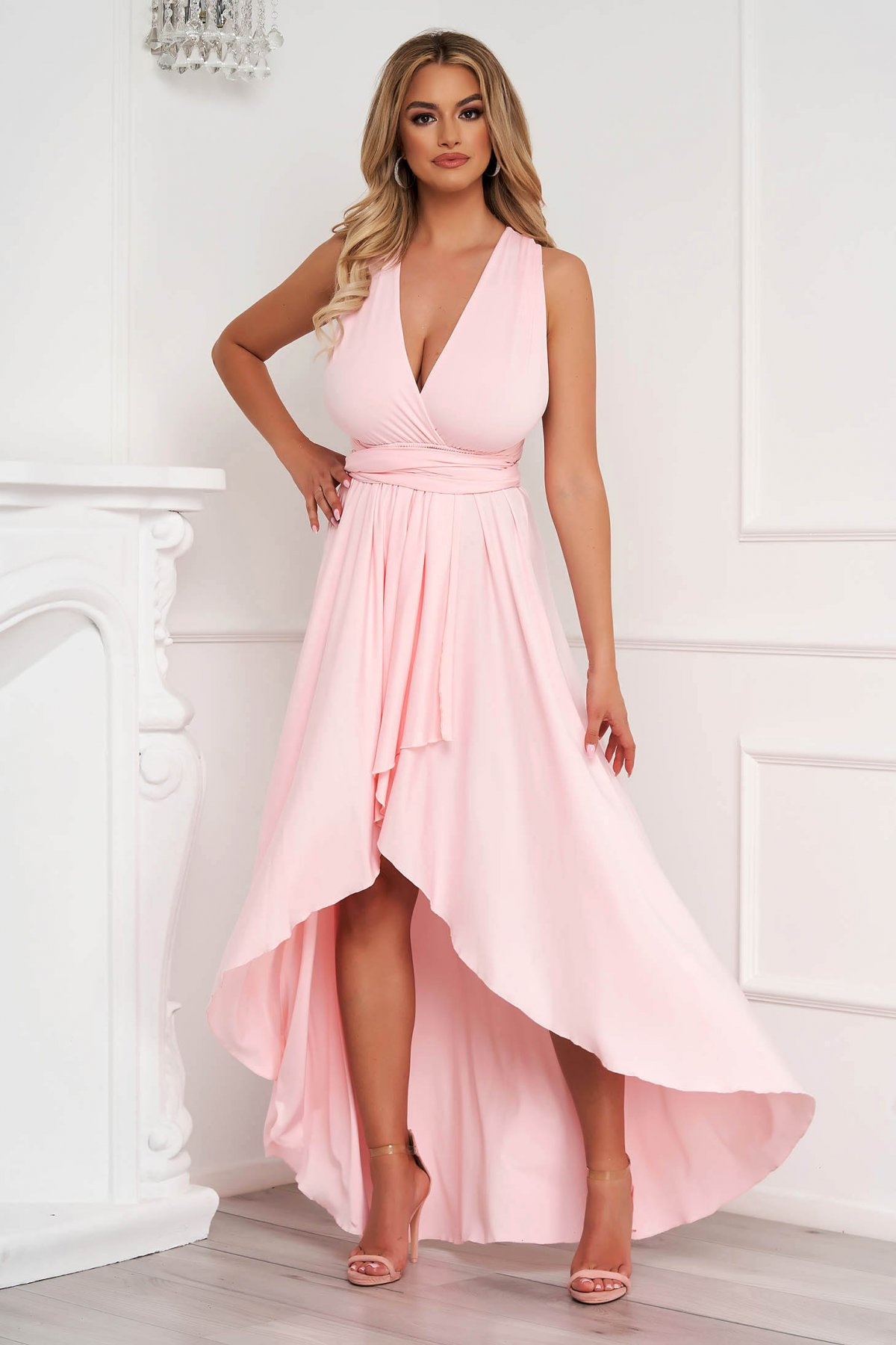 Rochie Lady Pandora roz deschis asimetrica de ocazie in clos din material elastic cu spatele gol