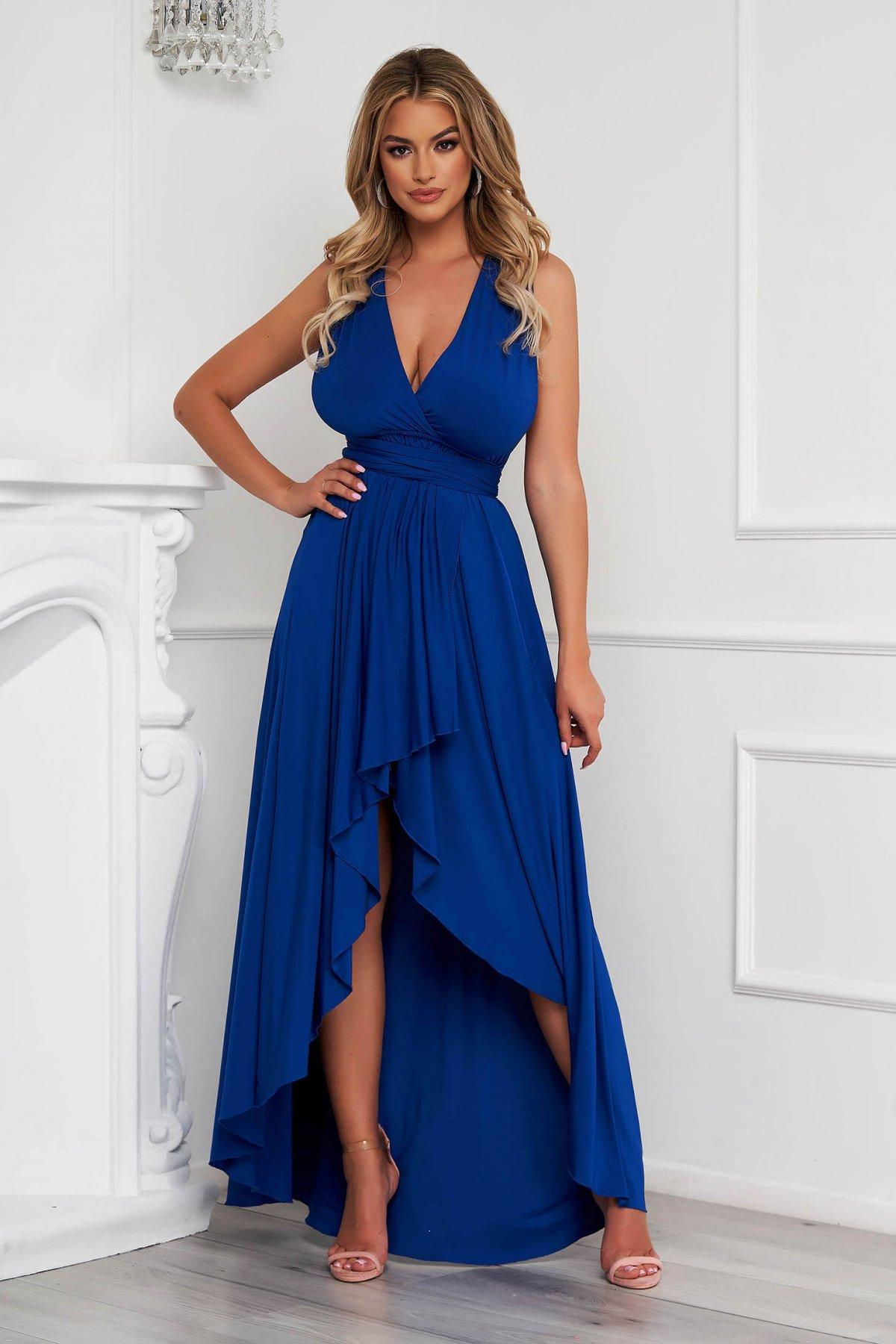 Rochie Lady Pandora albastra asimetrica de ocazie in clos din material elastic cu spatele gol