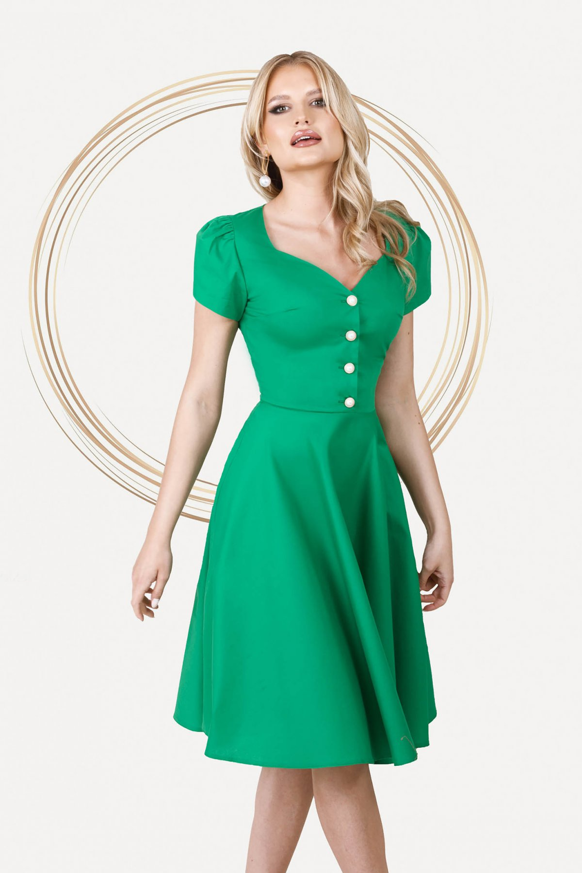 Rochie PrettyGirl verde office midi in clos din poplin usor elastic cu decolteu inima