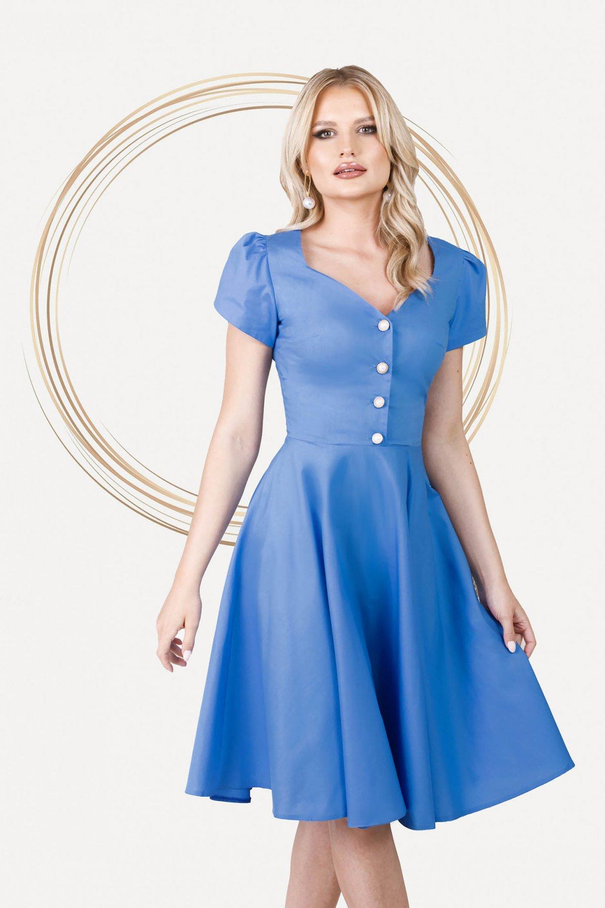 Rochie PrettyGirl albastra office midi in clos din poplin usor elastic cu decolteu inima