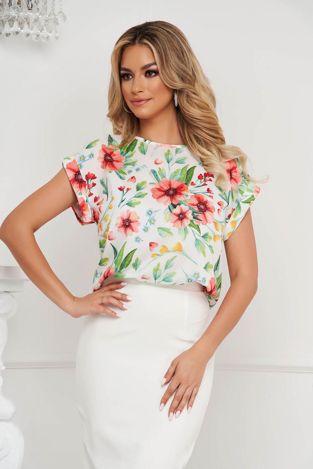 Bluza dama StarShinerS office cu croi larg din material subtire si cu imprimeu floral unic