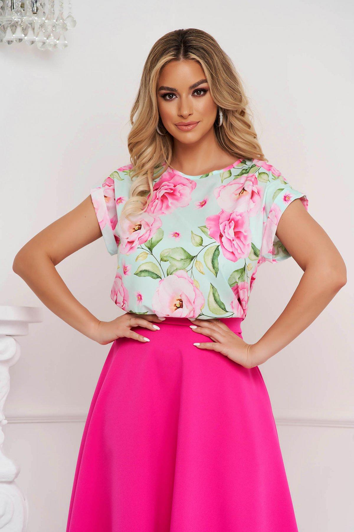 Bluza dama StarShinerS office cu croi larg material subtire cu imprimeu floral