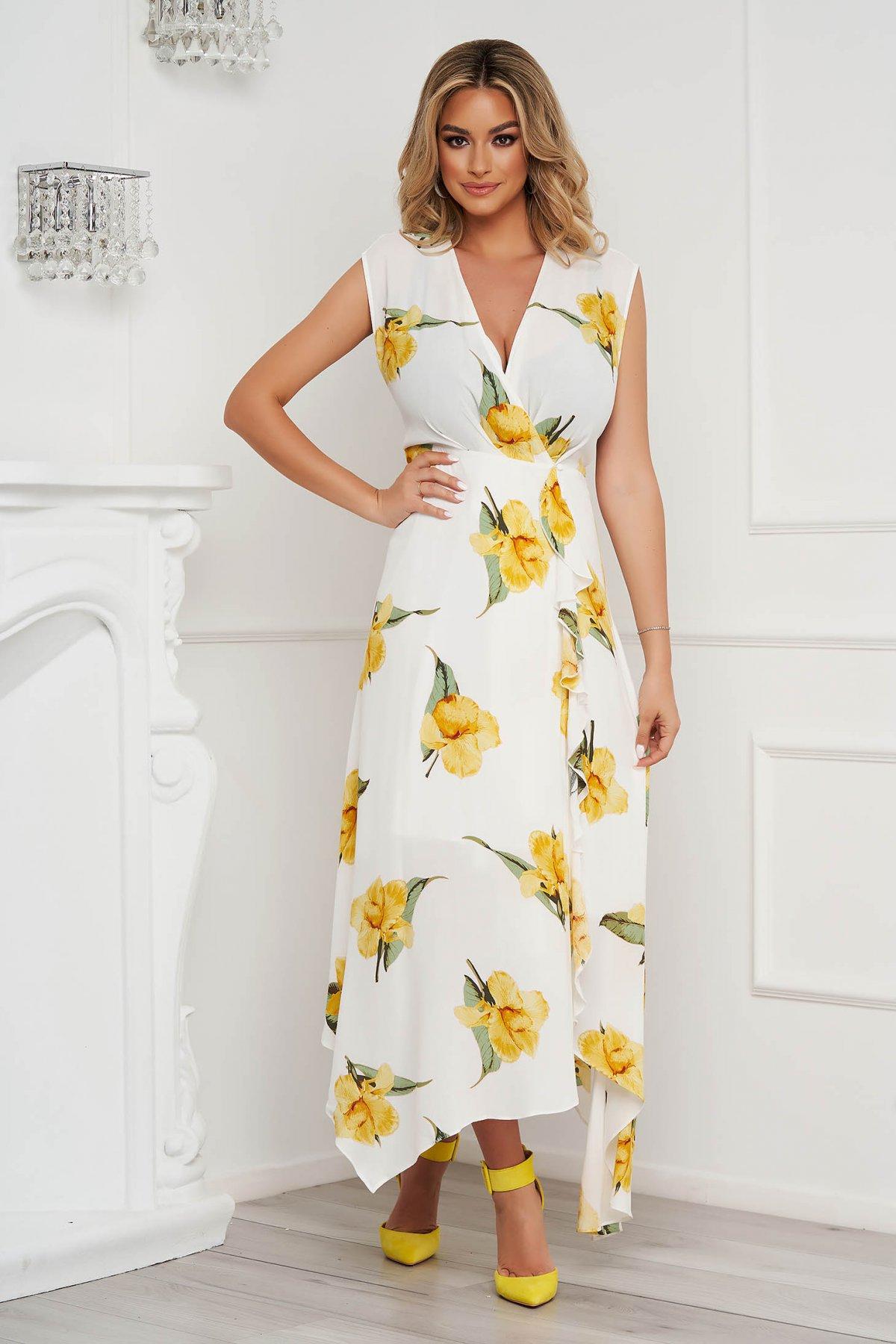 Rochie SunShine lunga asimetrica in clos din material subtire cu imprimeu floral