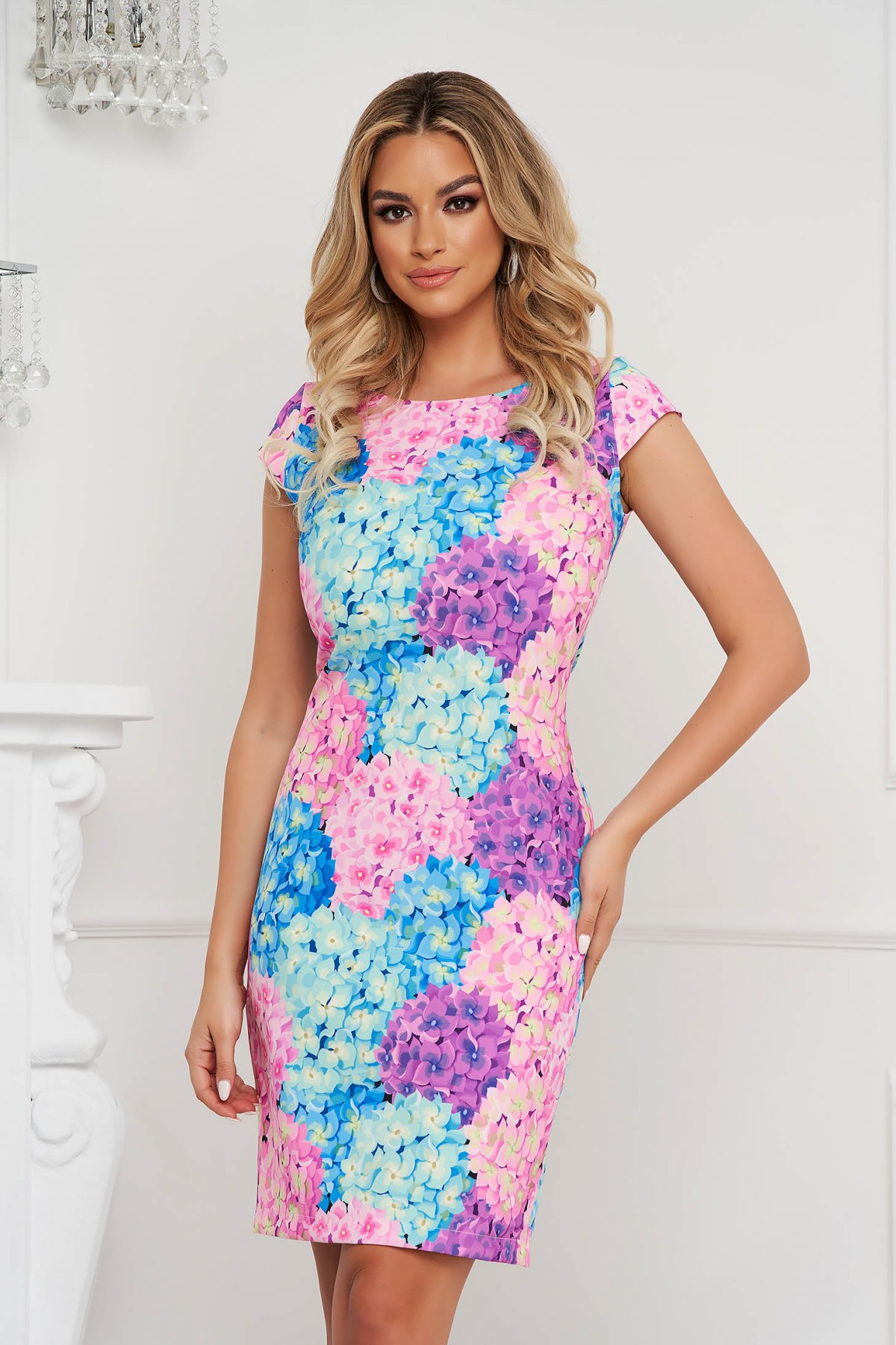 Rochie StarShinerS office tip creion din material neelastic cu imprimeu floral unic