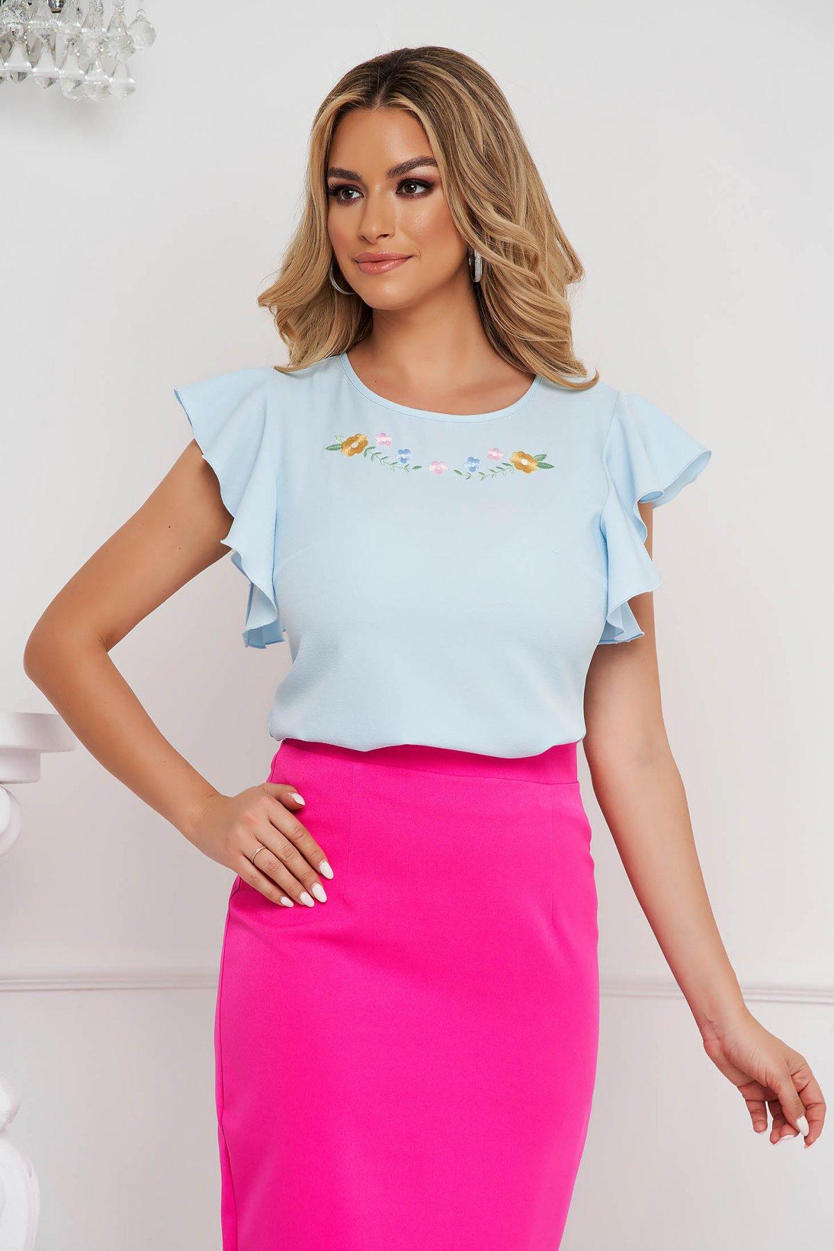 Bluza dama StarShinerS albastra-deschis eleganta din voal cu croi larg cu volanase la maneca cue broderie