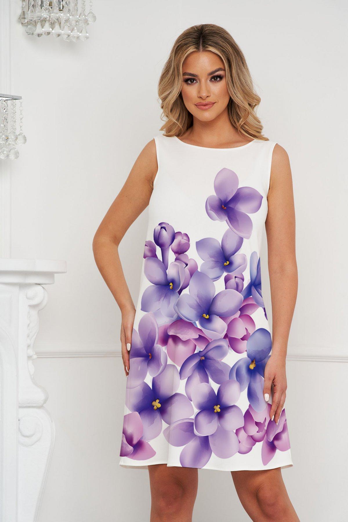 Rochie StarShinerS scurta cu croi larg din material elastic cu imprimeuri florale unice
