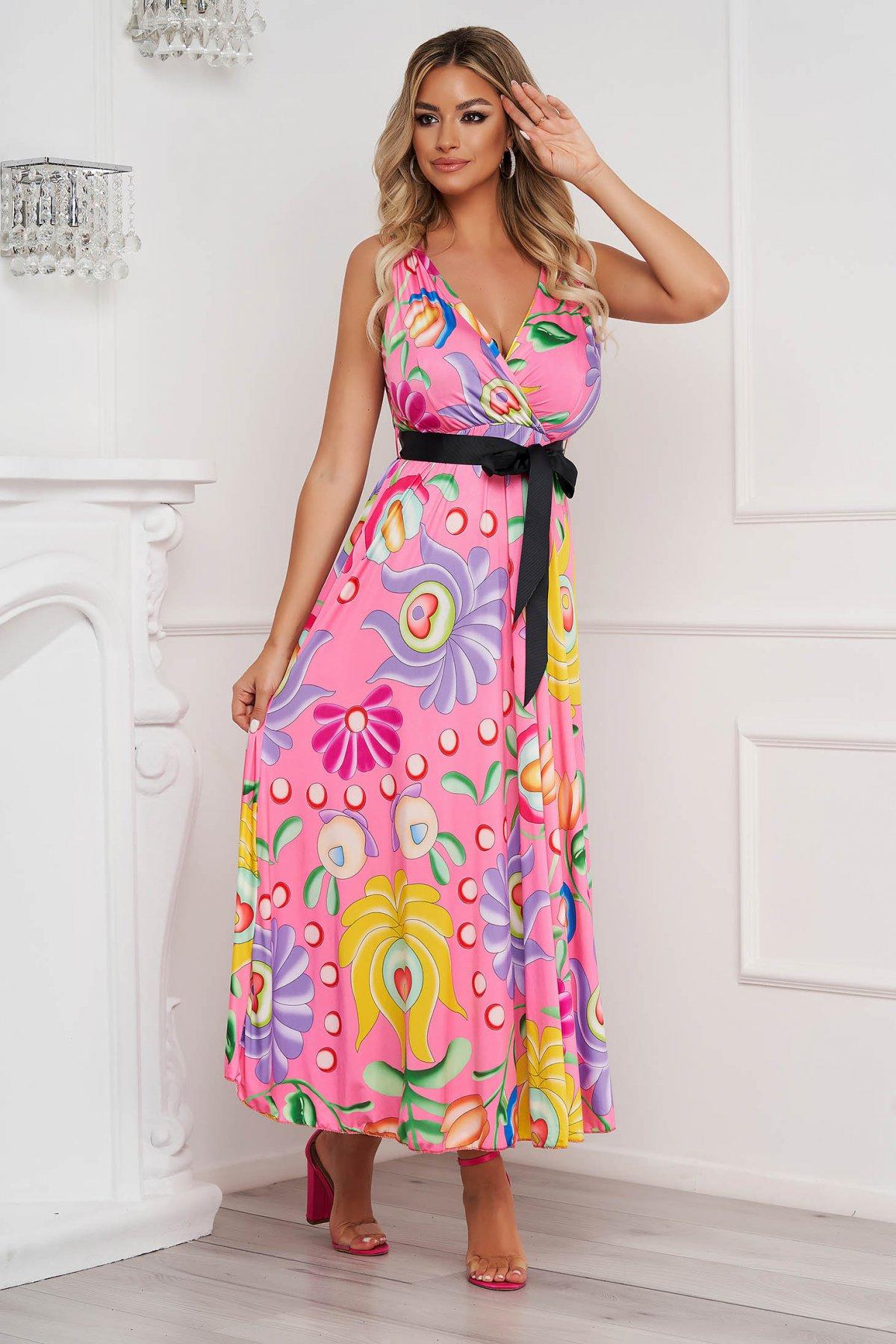 Rochie SunShine lunga in clos din material elastic si fin cu imprimeu floral