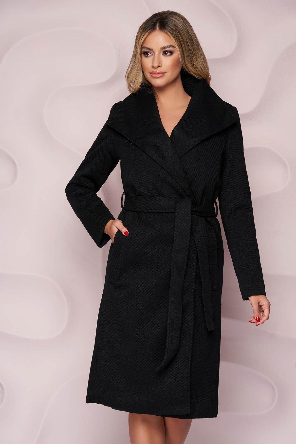 Palton SunShine negru imblanit cu un croi drept din material gros si cordon detasabil