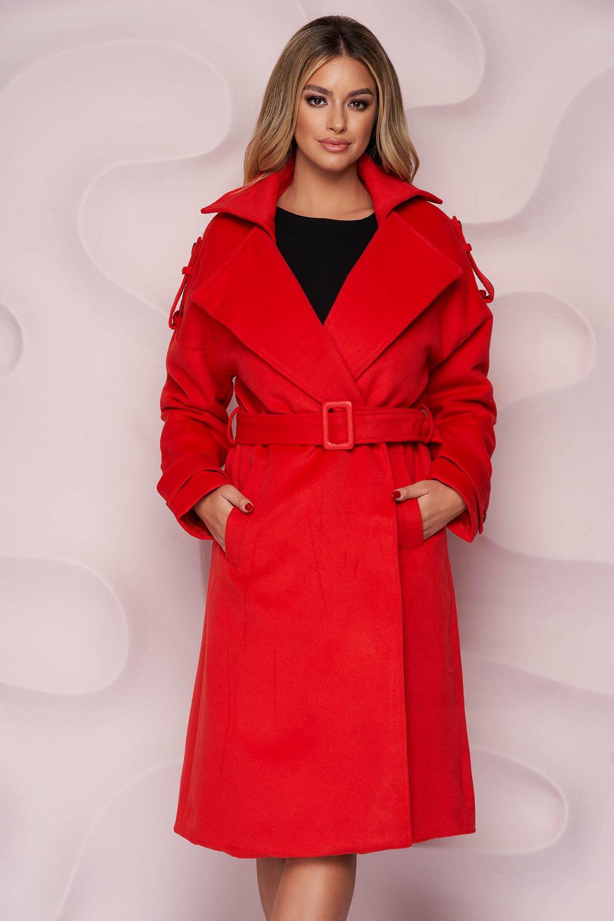 Palton SunShine rosu casual lung cu croi larg din material gros din stofa si cordon detasabil