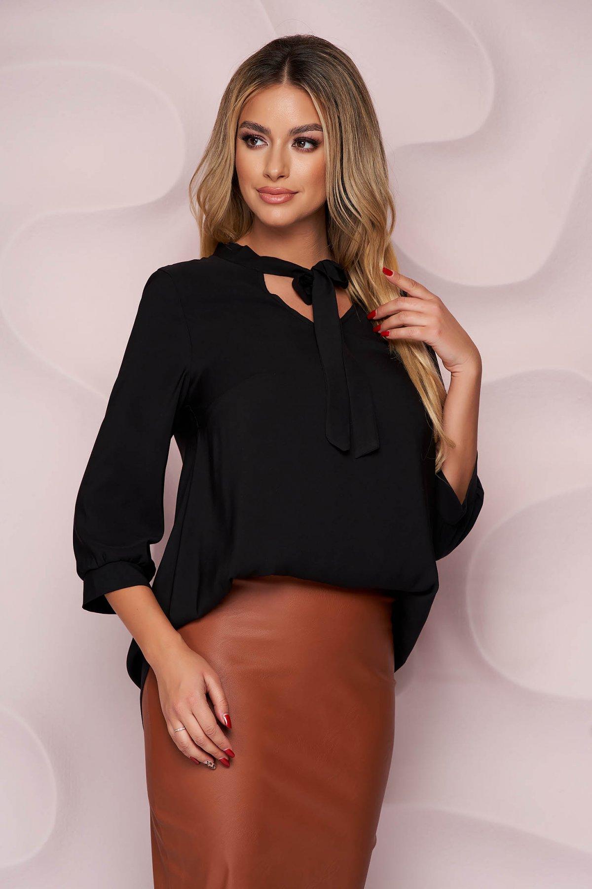 Bluza dama StarShinerS neagra office asimetrica cu croi larg din material neelastic fluid care se leaga cu fundita