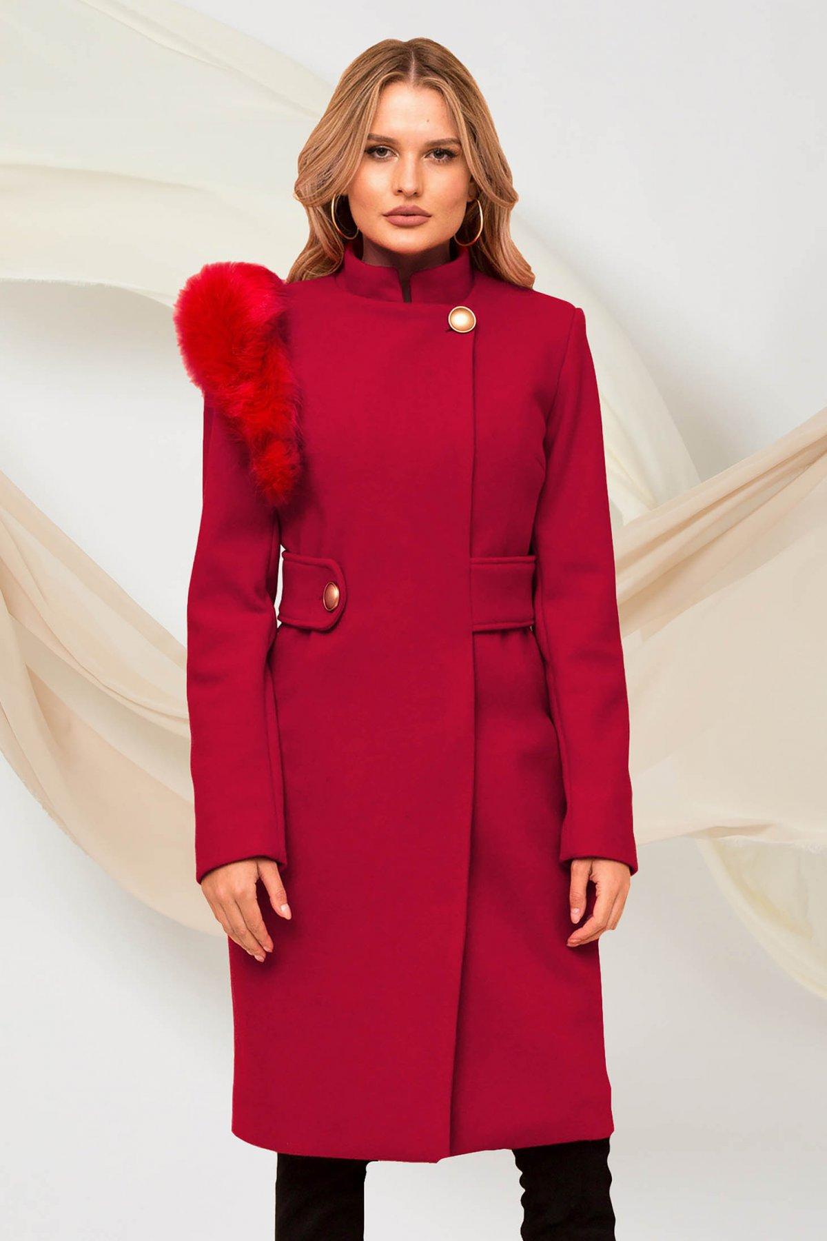 Palton PrettyGirl visiniu din stofa cu insertii cu blana ecologica accesorizat cu cordon
