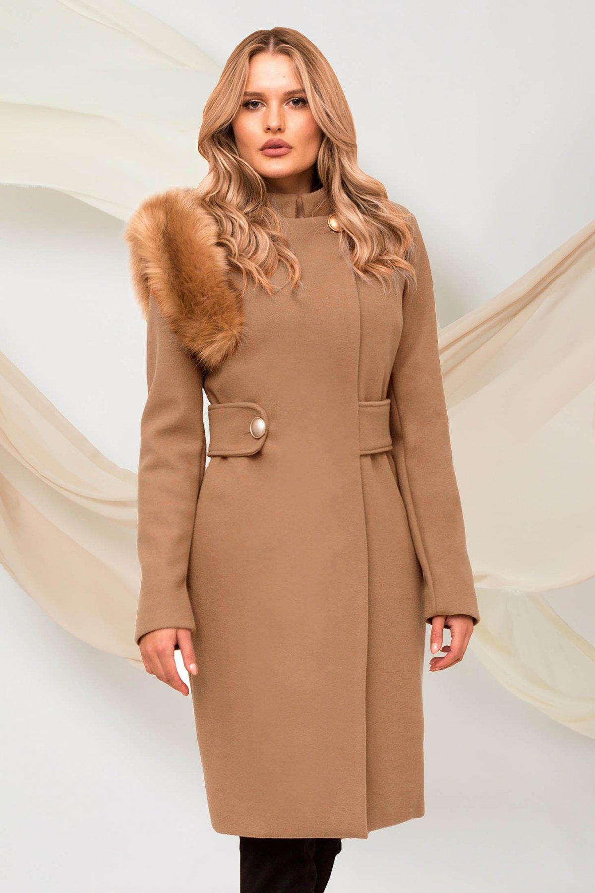 Palton PrettyGirl cappuccino din stofa cu insertii cu blana ecologica accesorizat cu cordon