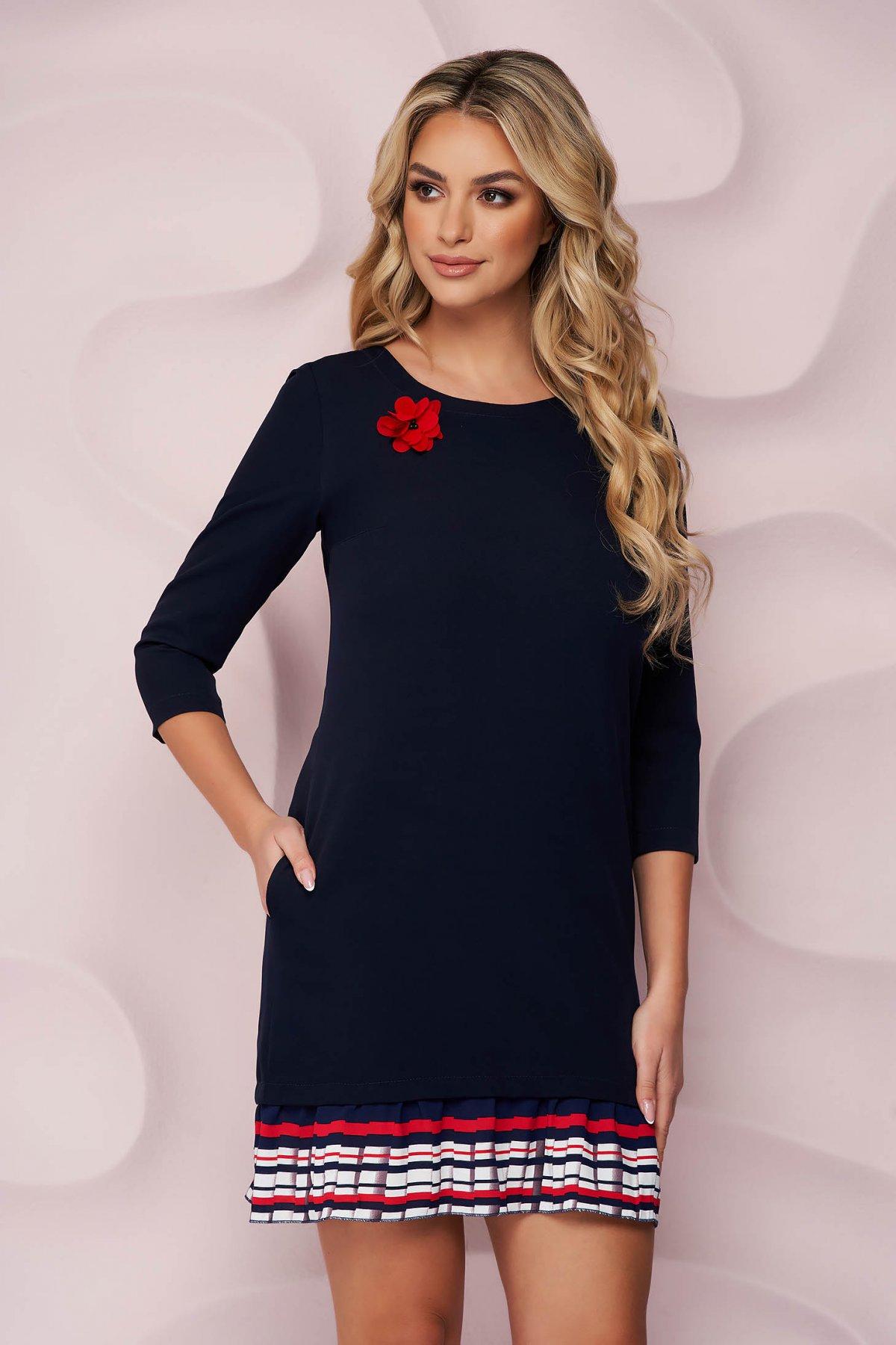 Rochie StarShinerS albastru-inchis scurta eleganta cu volanase la baza rochiei si buzunare