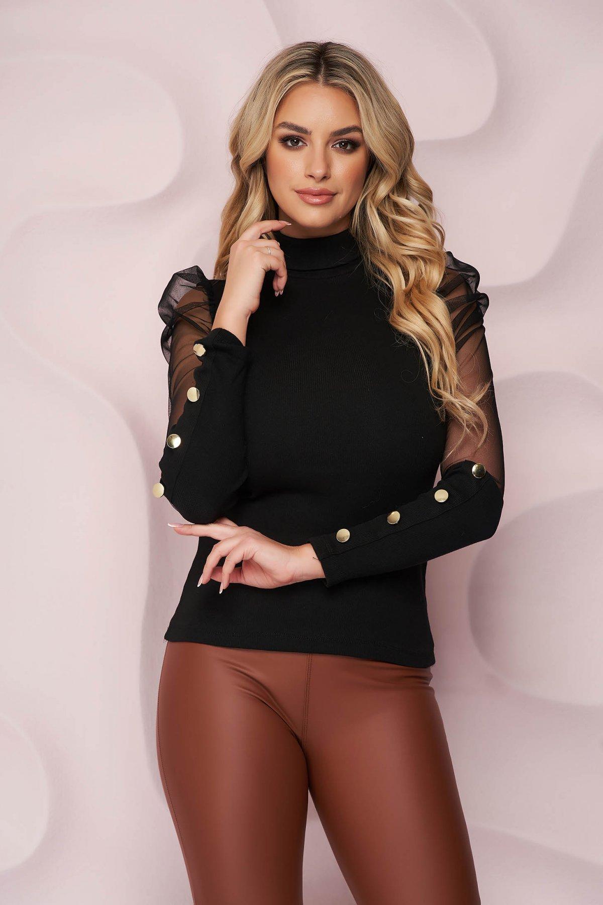 Bluza dama SunShine neagra mulata cu maneca lunga din bumbac elastic si maneci din tul accesorizata cu nasturi aurii