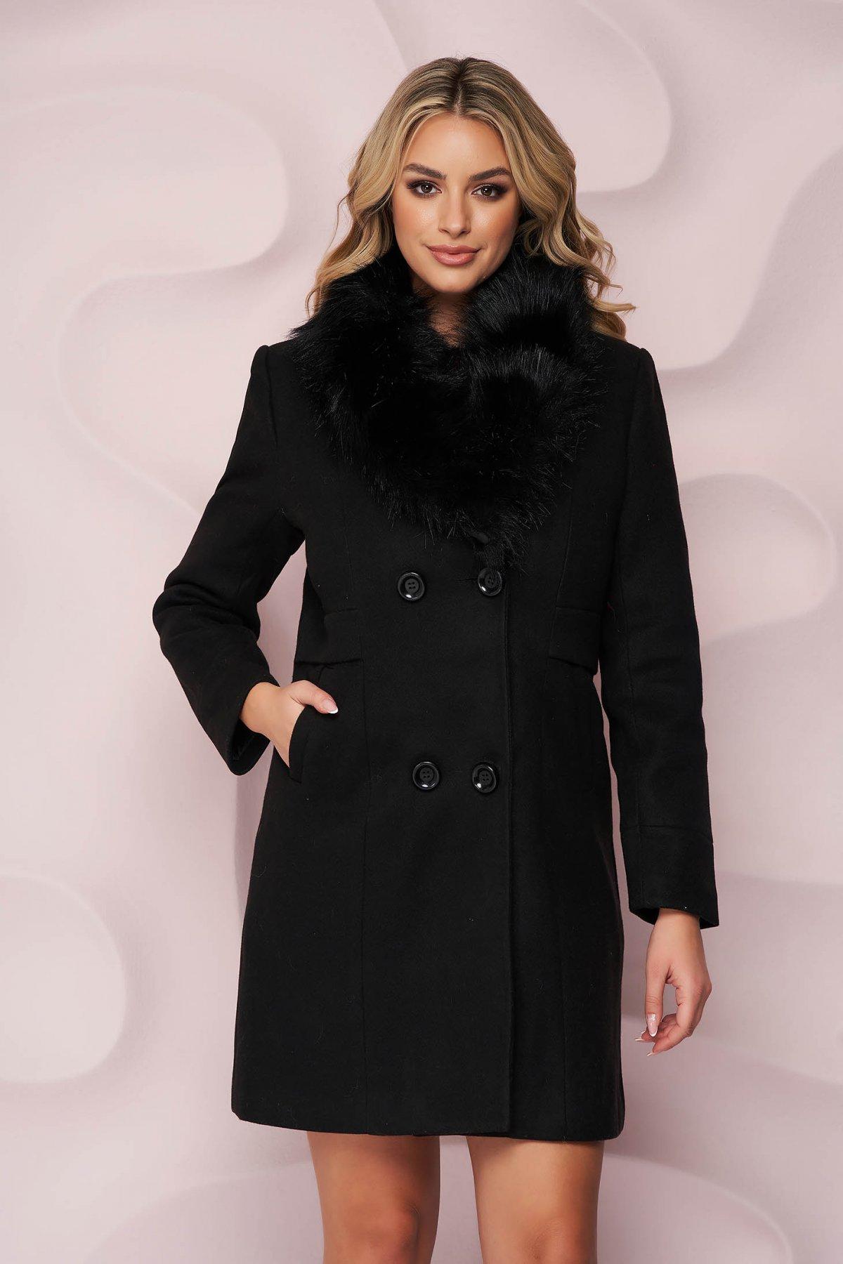 Palton SunShine negru elegant cu un croi cambrat din material gros cu insertii de blana ecologica detasabile la guler